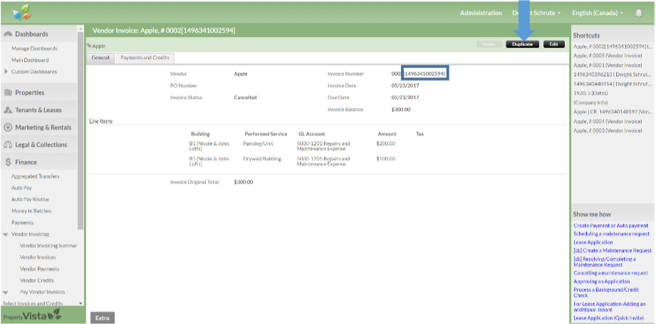 cancelling an invoice property vista support